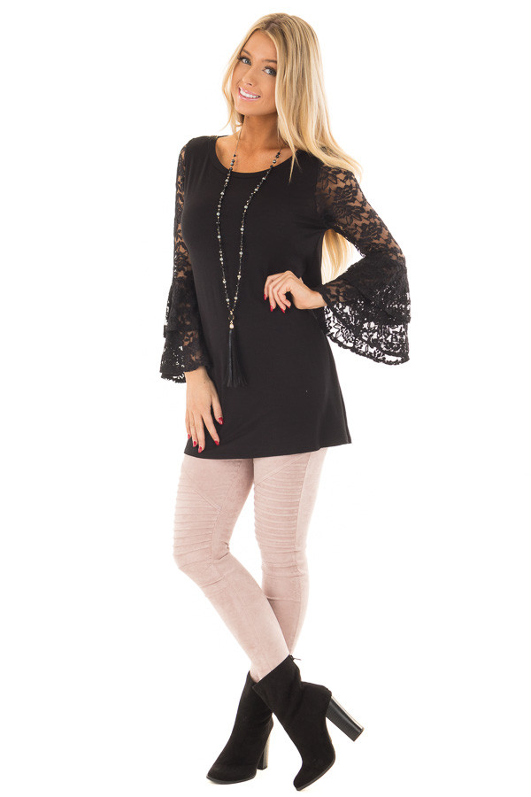 Black Top with Long Sheer Lace Bell Sleeves front full body