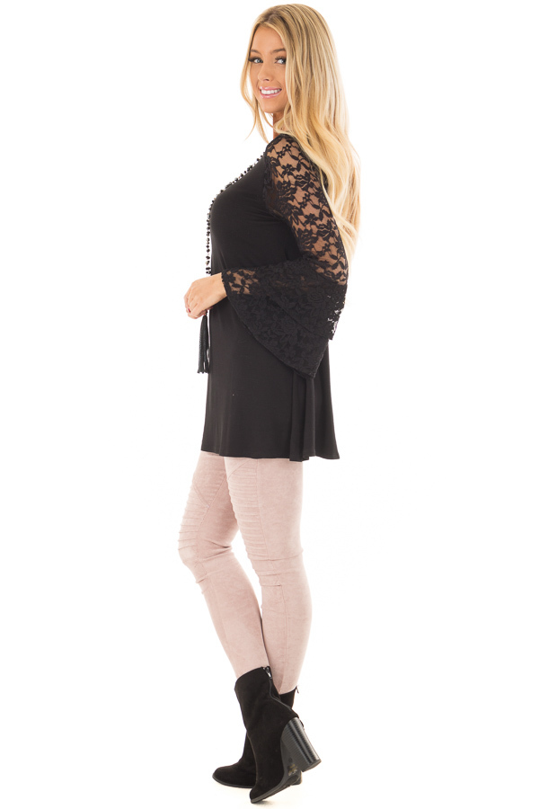 Black Top with Long Sheer Lace Bell Sleeves side full body