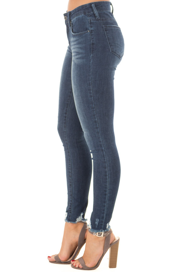 Dark Wash Stretchy Skinny Jeans with Lightly Distressed Hem side view
