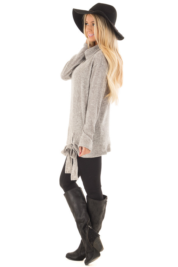 Cloud Grey Cowl Neck Sweater With Front Tie side full body