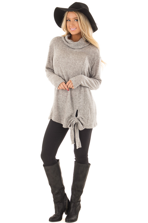 Cloud Grey Cowl Neck Sweater With Front Tie front full body