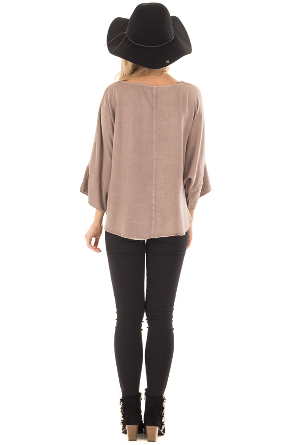 Mocha Dolman 3/4 Sleeve Top with Front Tie back full body