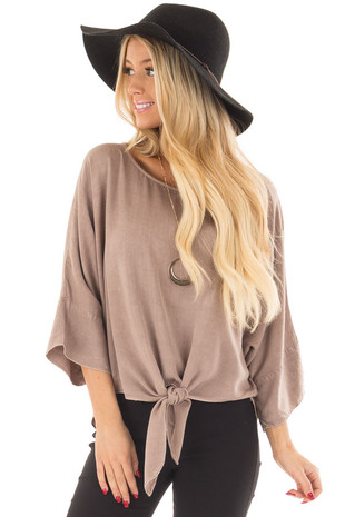 Mocha Dolman 3/4 Sleeve Top with Front Tie front close up