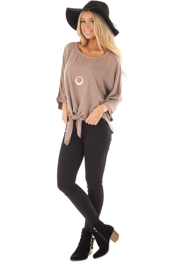 Mocha Dolman 3/4 Sleeve Top with Front Tie front full body