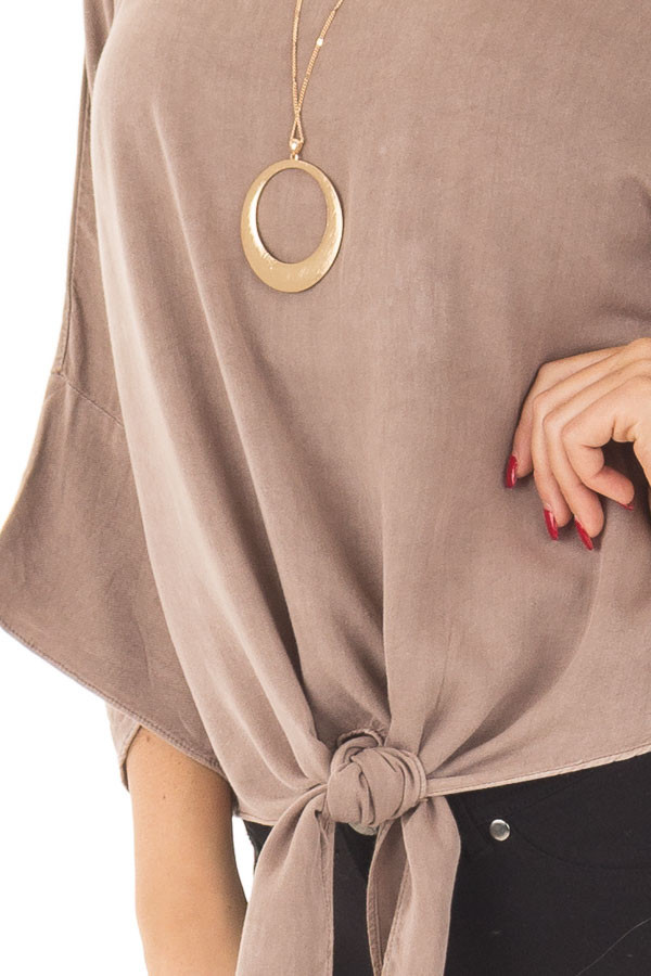 Mocha Dolman 3/4 Sleeve Top with Front Tie detail
