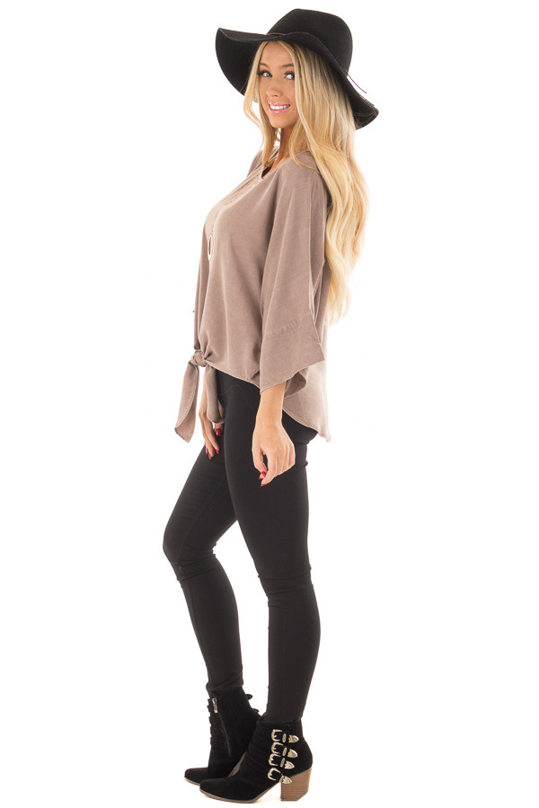 Mocha Dolman 3/4 Sleeve Top with Front Tie side full body