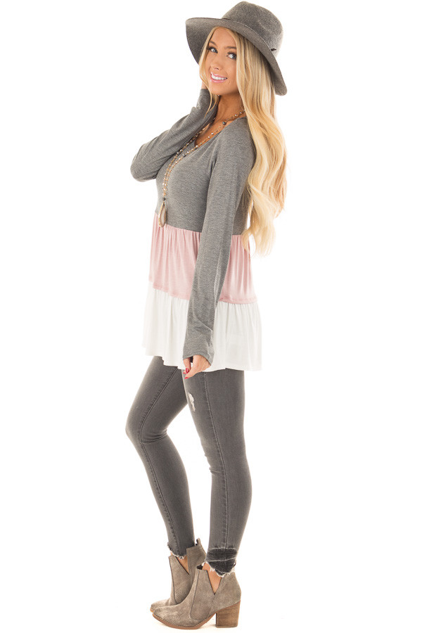 Charcoal, Blush and Ivory Color Block Top side full body
