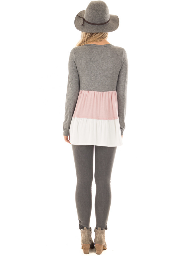 Charcoal, Blush and Ivory Color Block Top back full body