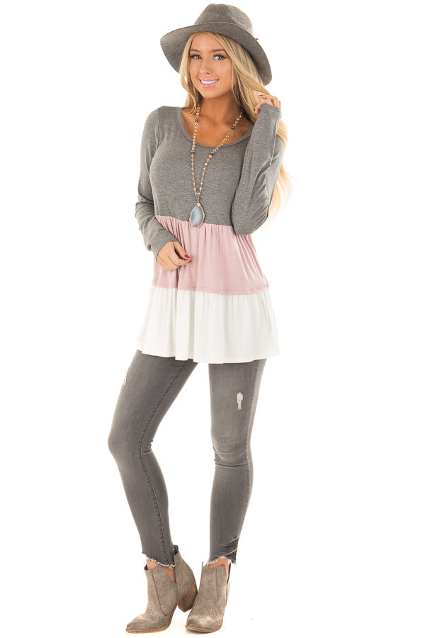 Charcoal, Blush and Ivory Color Block Top front full body