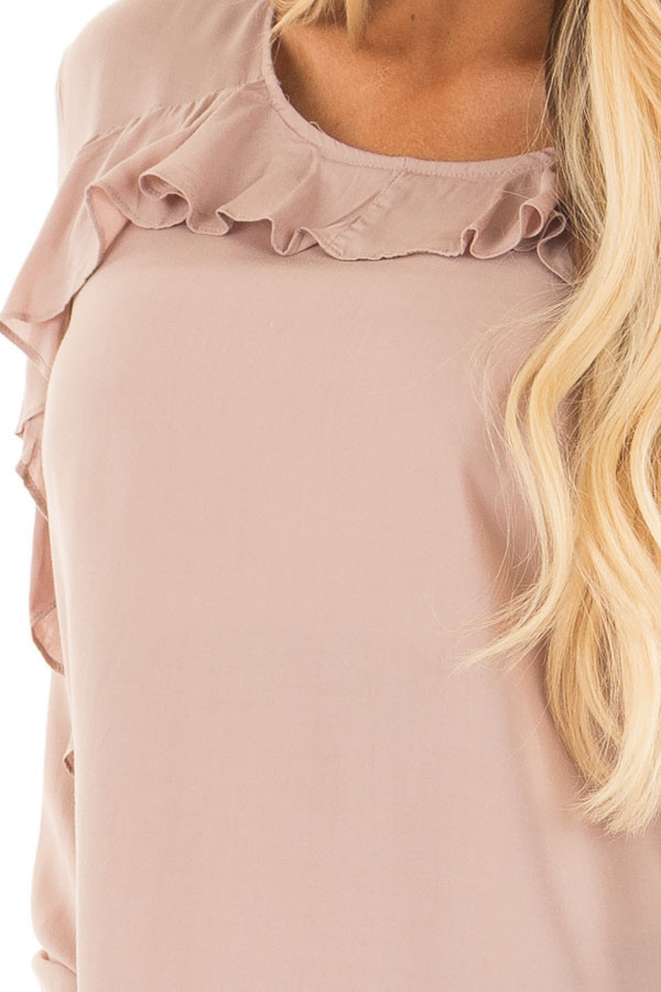 Mauve Top with Ruffle Detail detail