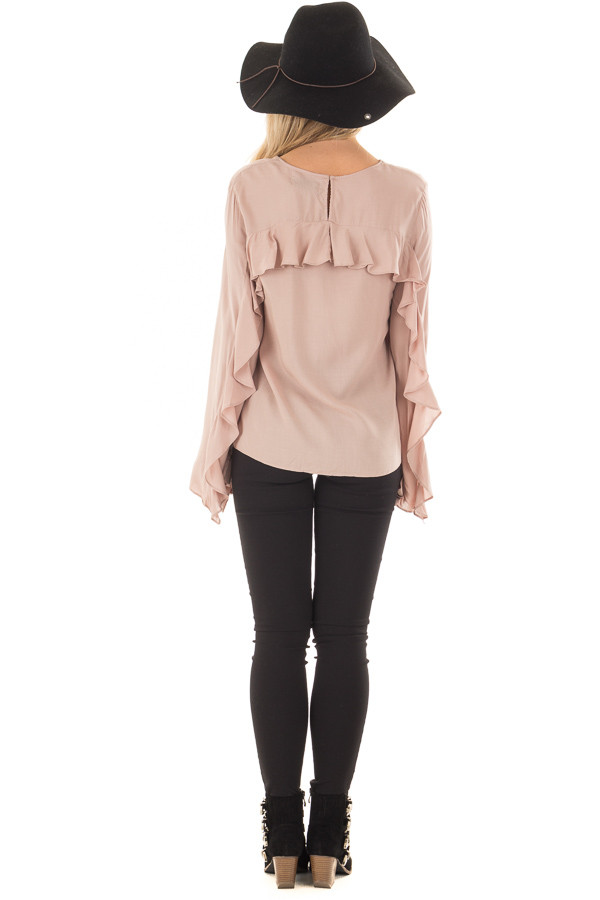 Mauve Top with Ruffle Detail back full body