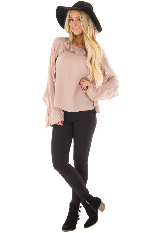 Mauve Top with Ruffle Detail front full body