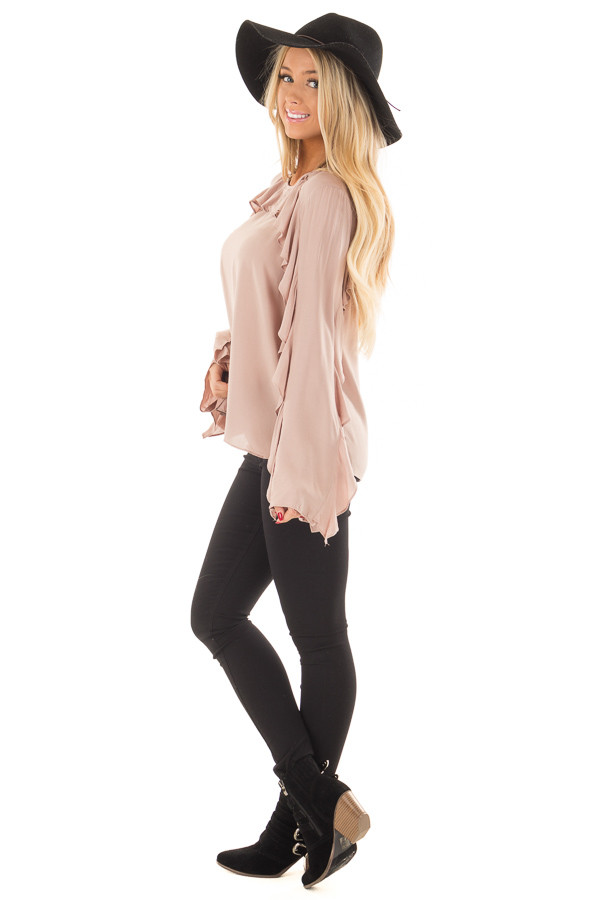 Mauve Top with Ruffle Detail side full body