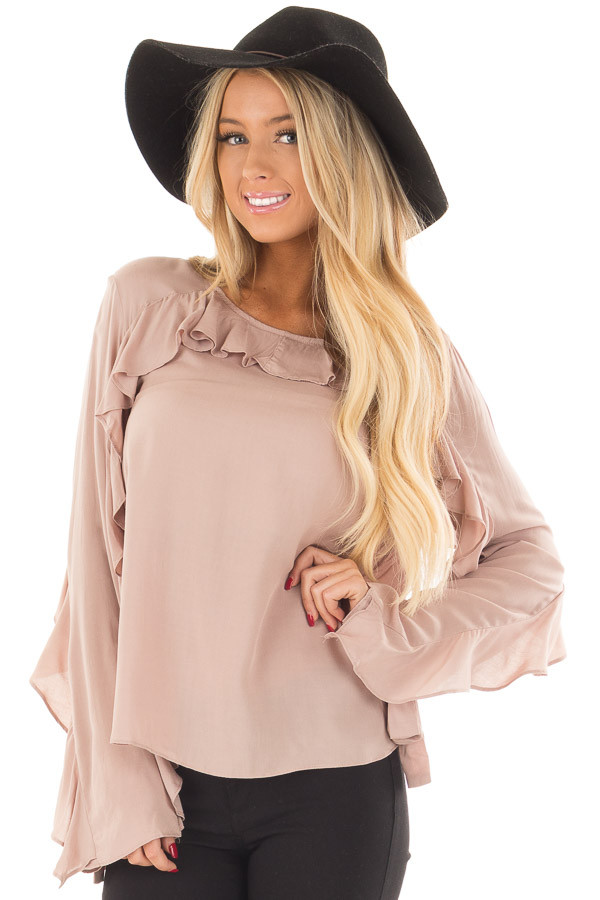 Mauve Top with Ruffle Detail front close up