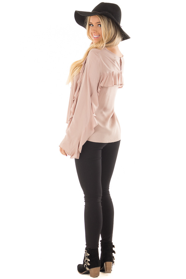 Mauve Top with Ruffle Detail back side full body