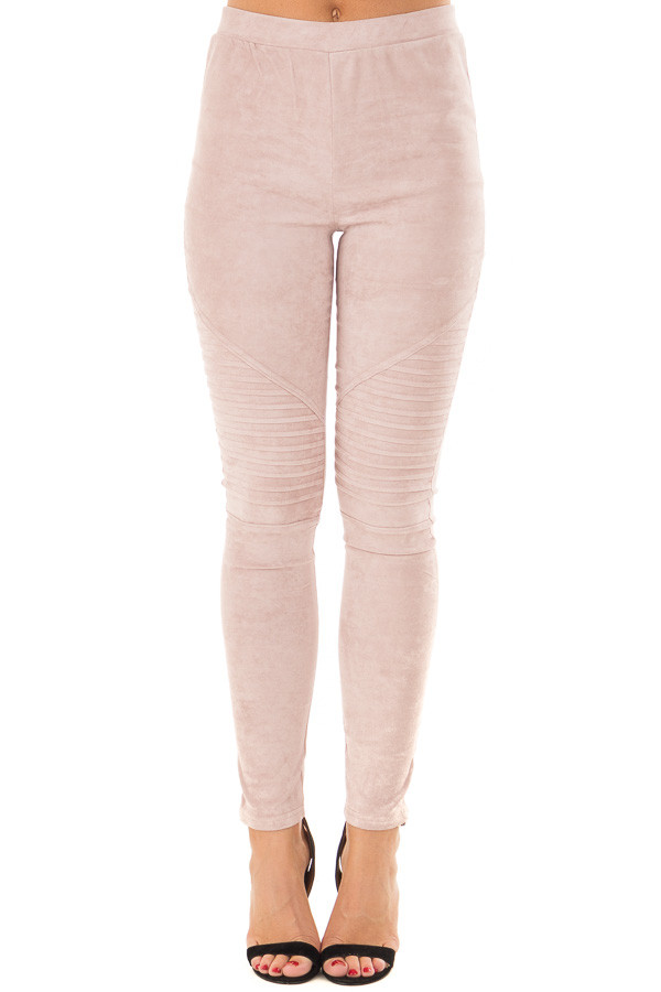 Dusty Blush Soft and Comfy Faux Suede Moto Leggings front view
