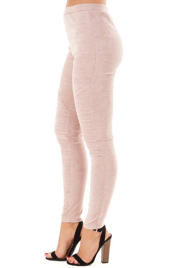 Dusty Blush Soft and Comfy Faux Suede Moto Leggings side view