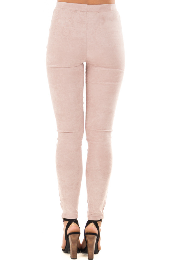 Dusty Blush Soft and Comfy Faux Suede Moto Leggings back view