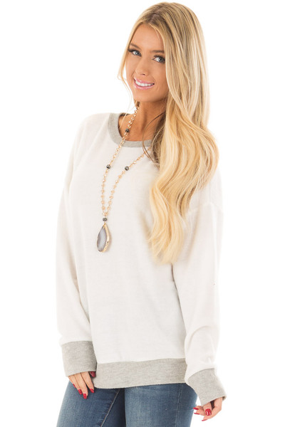 Ivory Super Soft Sweater with Light Grey Contrast front close up