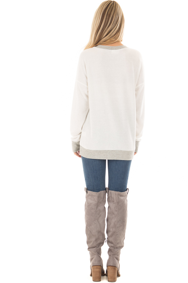 Ivory Super Soft Sweater with Light Grey Contrast back full body