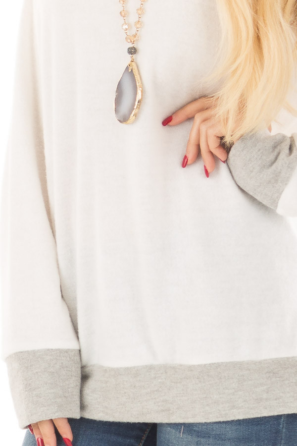 Ivory Super Soft Sweater with Light Grey Contrast detail