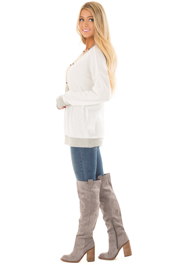 Ivory Super Soft Sweater with Light Grey Contrast side full body