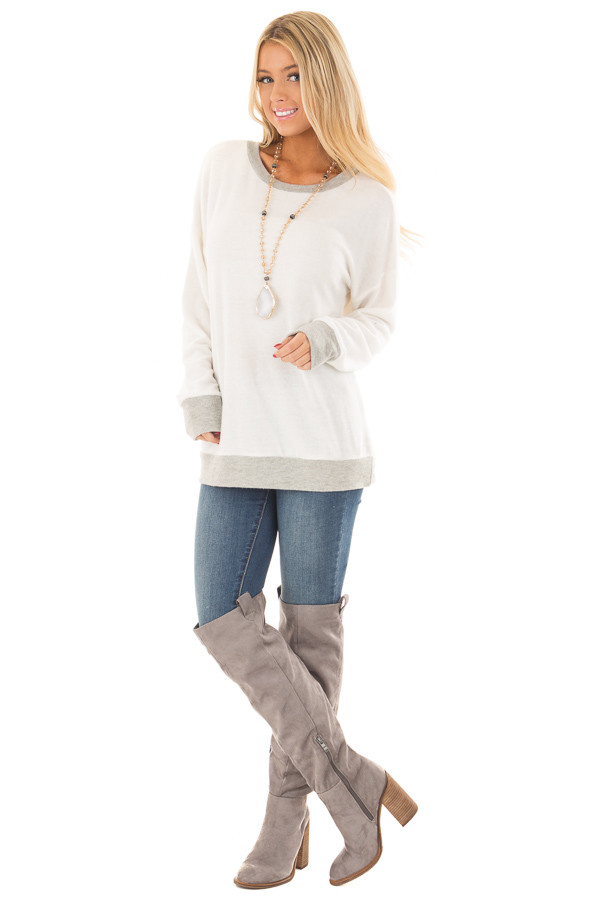 Ivory Super Soft Sweater with Light Grey Contrast front full body