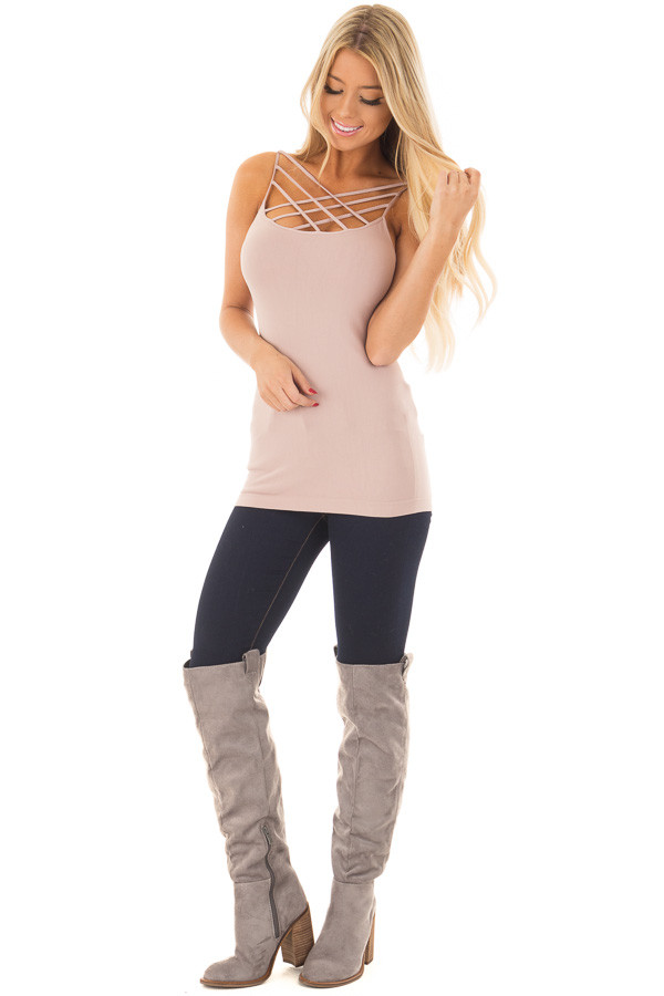 Spice Beige Criss Cross Strappy Camisole front full body
