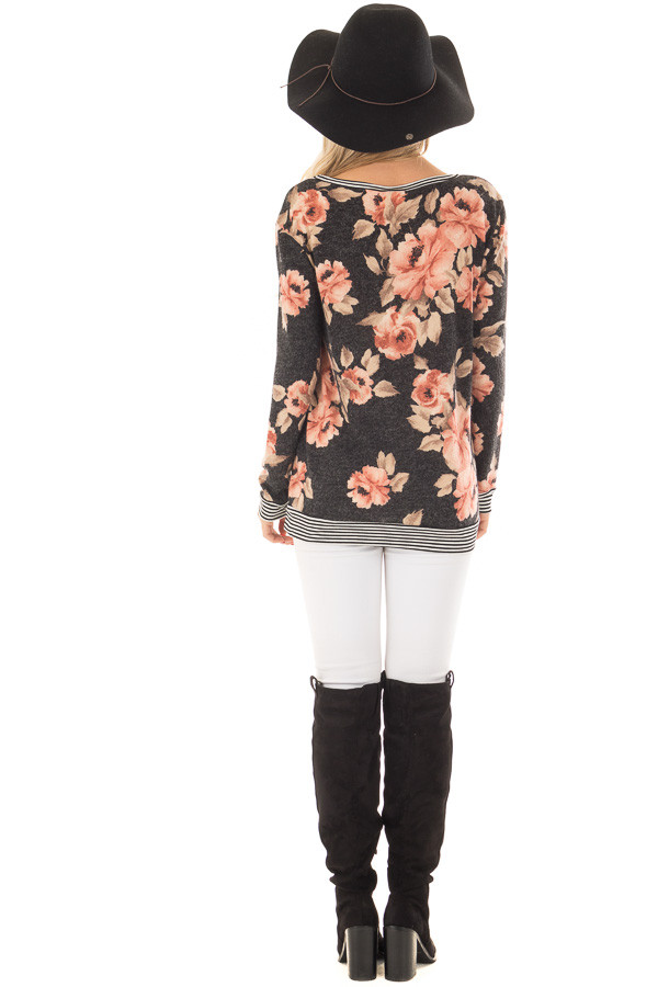 Black Floral Print Sweater with Stripe Contrast back full body