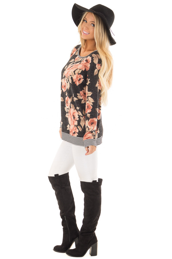 Black Floral Print Sweater with Stripe Contrast side full body