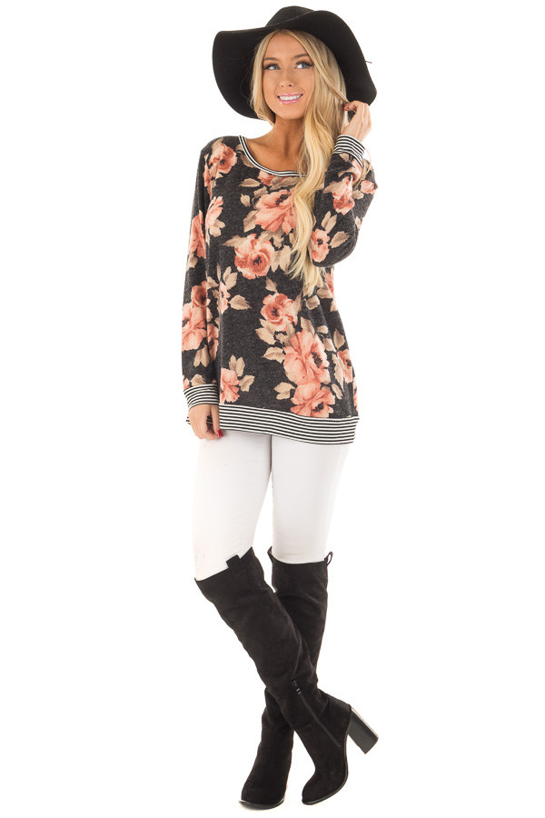 Black Floral Print Sweater with Stripe Contrast front full body