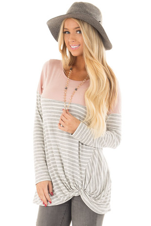 Heather Grey Stripe Top with Blush Contrast and Front Twist front close up