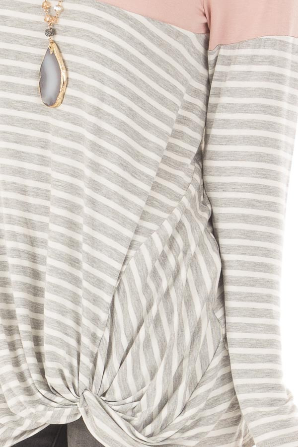 Heather Grey Stripe Top with Blush Contrast and Front Twist detail