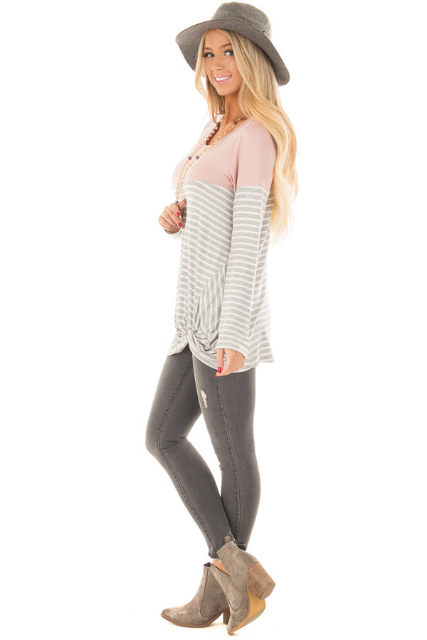 Heather Grey Stripe Top with Blush Contrast and Front Twist side full body