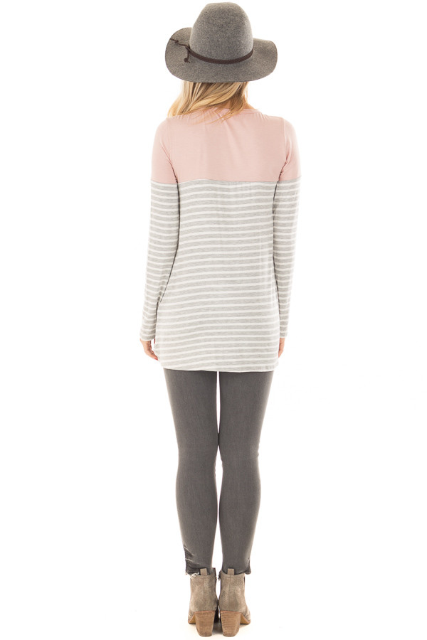 Heather Grey Stripe Top with Blush Contrast and Front Twist back full body