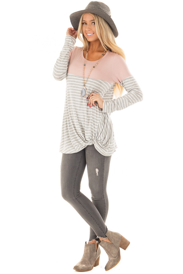 Heather Grey Stripe Top with Blush Contrast and Front Twist front full body