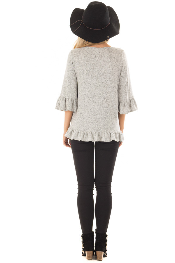 Heather Grey Two Tone Tunic with Ruffle Detail back full body