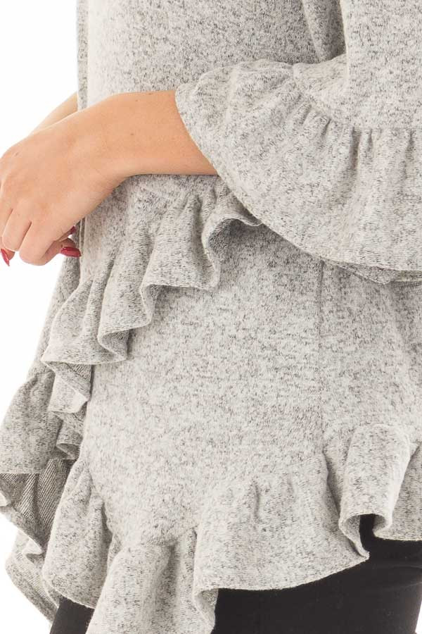 Heather Grey Two Tone Tunic with Ruffle Detail detail