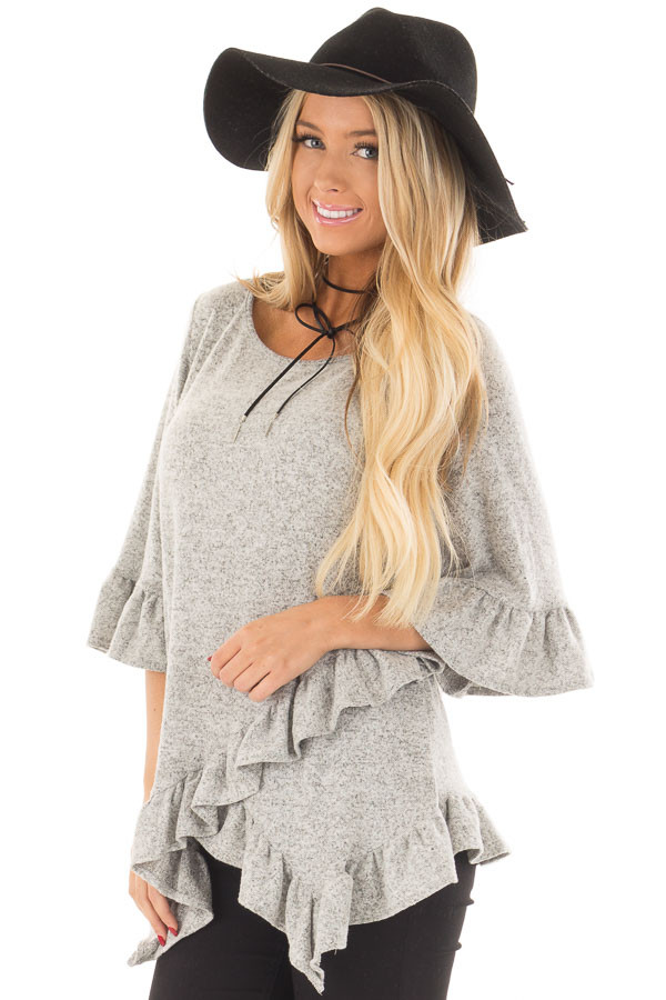 Heather Grey Two Tone Tunic with Ruffle Detail front close up