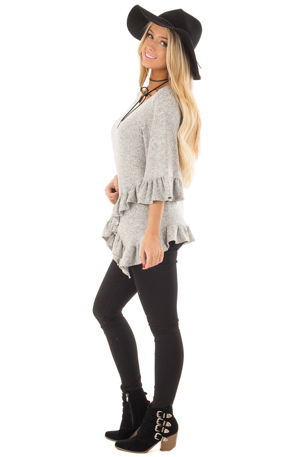 Heather Grey Two Tone Tunic with Ruffle Detail side full body