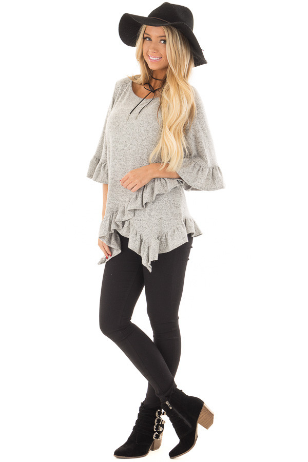 Heather Grey Two Tone Tunic with Ruffle Detail front full body