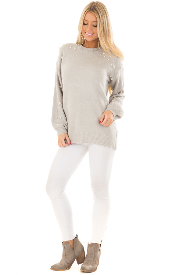 Cloud Grey Long Sleeve Sweater with Pearl Details front full body