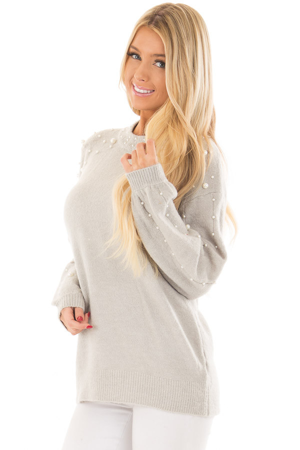 Cloud Grey Long Sleeve Sweater with Pearl Details front close up