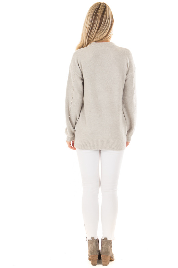 Cloud Grey Long Sleeve Sweater with Pearl Details back full body