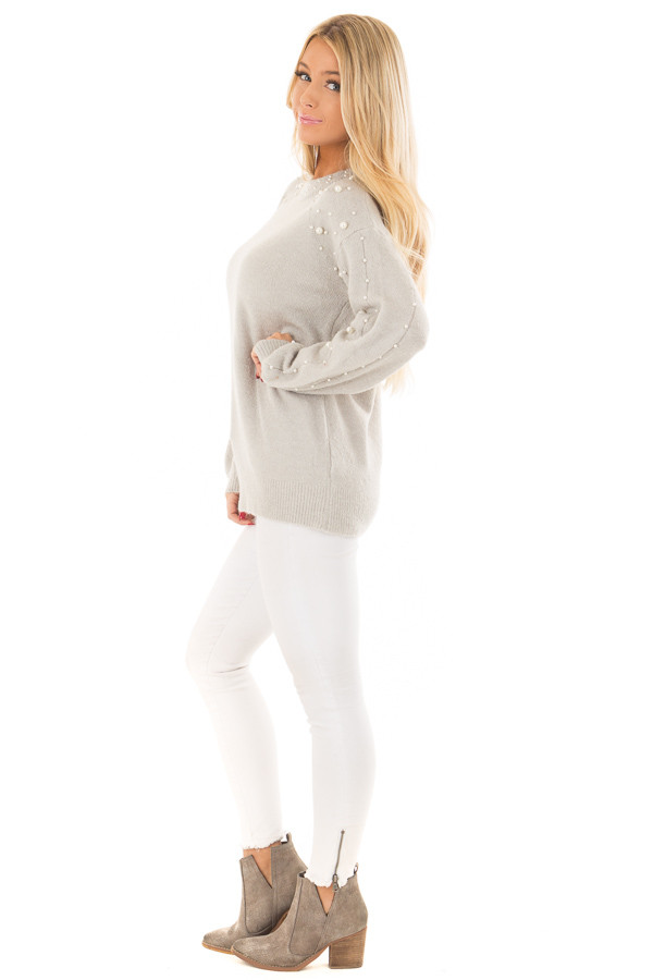 Cloud Grey Long Sleeve Sweater with Pearl Details side full body