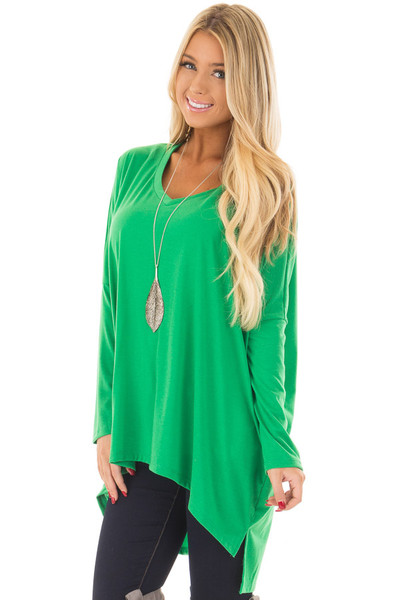 Kelly Green Oversized V Neck Top front close up