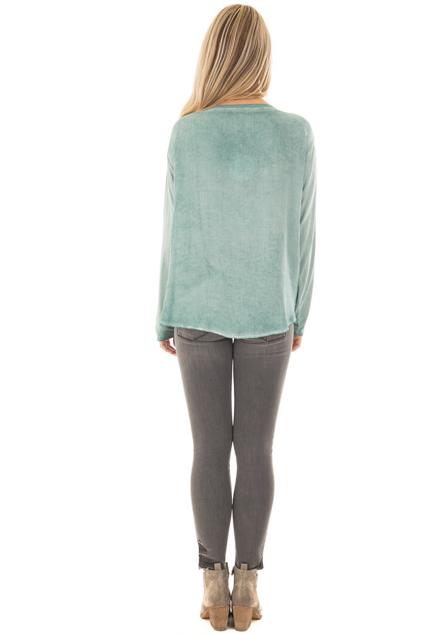 Slate Blue Mineral Wash Top with Front Twist back full body