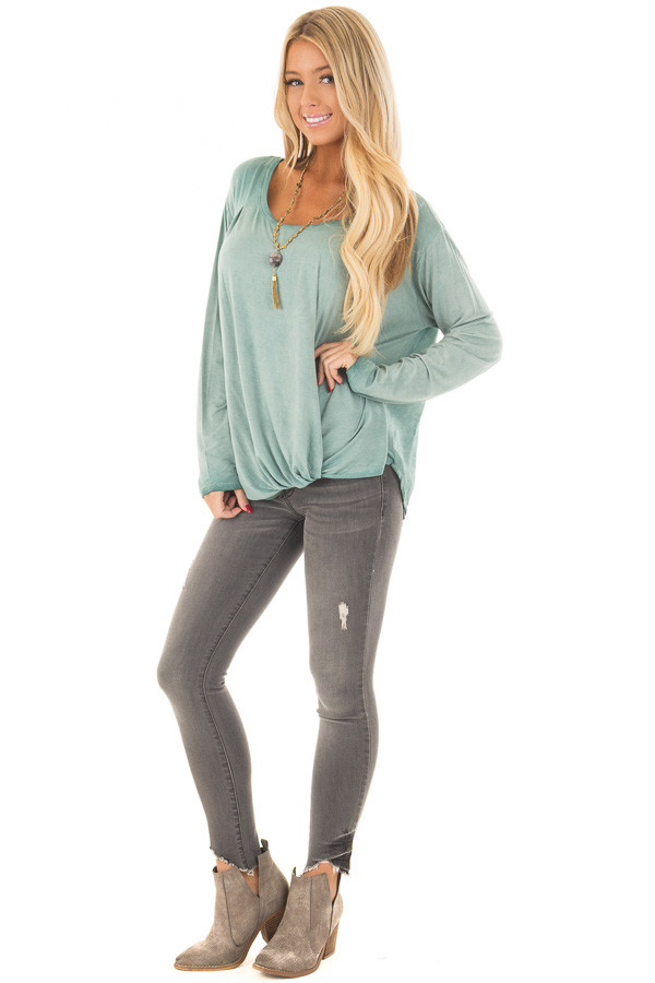 Slate Blue Mineral Wash Top with Front Twist front full body