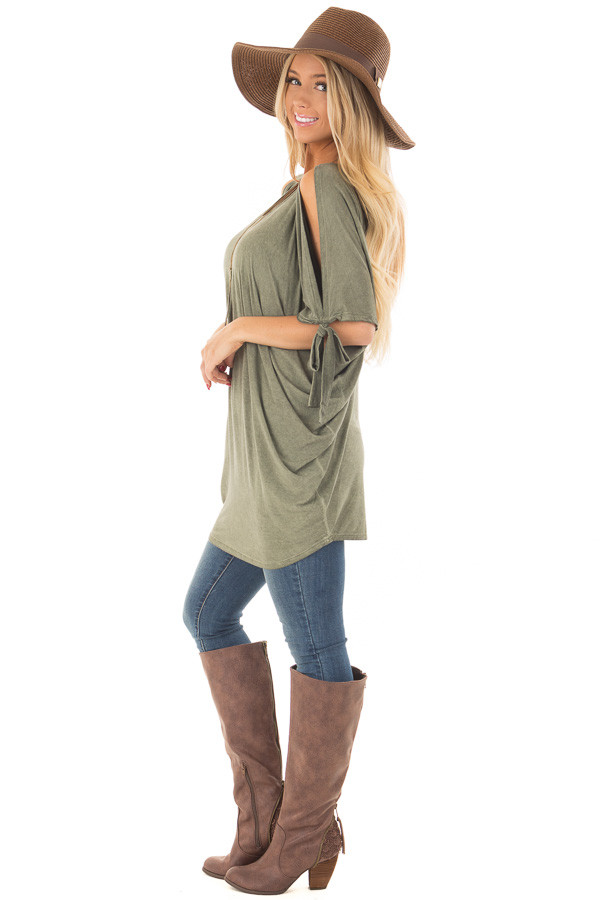 Olive Mineral Wash Loose Fit Tunic side full body