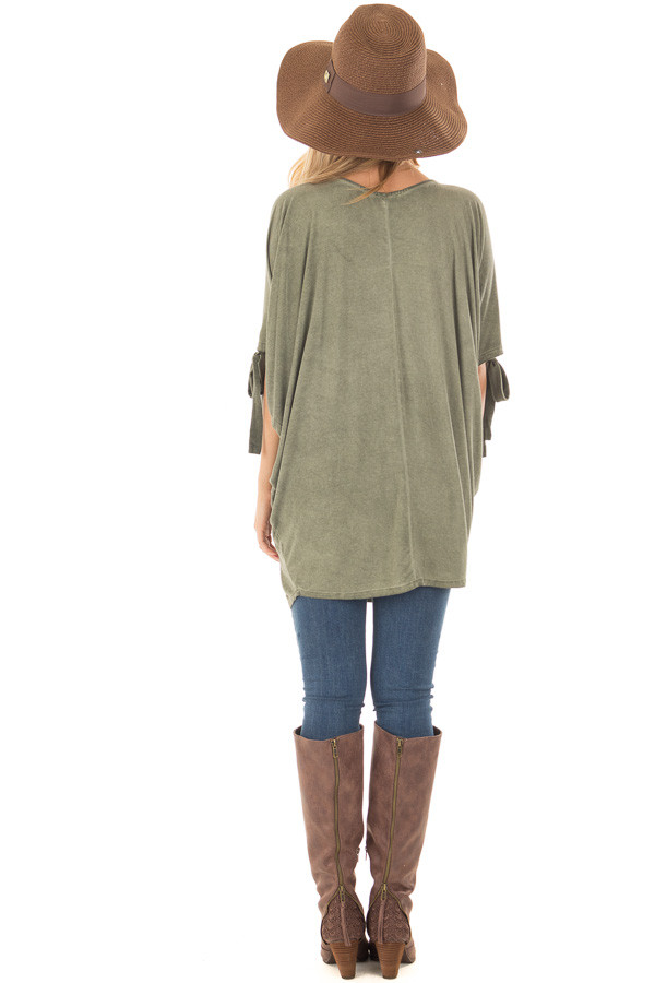 Olive Mineral Wash Loose Fit Tunic back full body